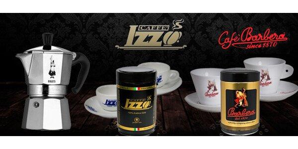 Set moka konvičky, kávy a dvou šálků