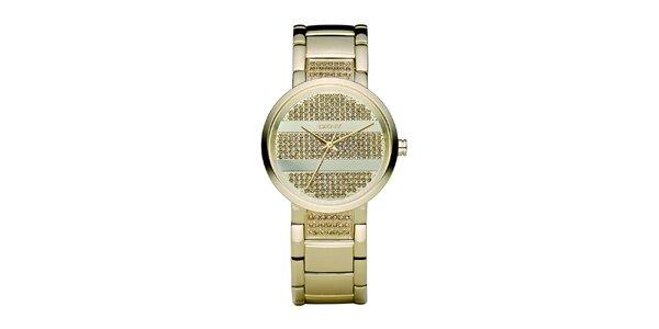 Dámské hodinky DKNY ve zlaté barvě s kovovým řemínkem