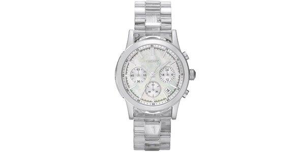 Dámské stříbrné hodinky DKNY s perleťovým ciferníkem