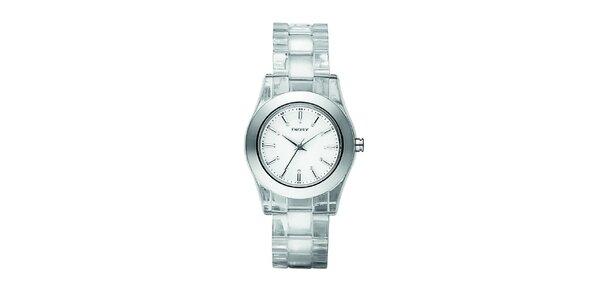 Dámské stříbrné hodinky DKNY s krystaly na ciferníku