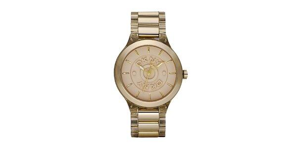 Dámské kovové hodinky DKNY ve zlaté barvě