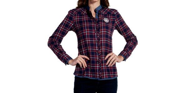 Dámská modročervená kostkovaná košile Galvanni