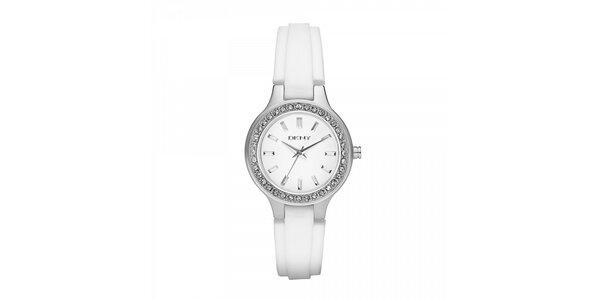 Dámské hodinky DKNY s bílým páskem a ciferníkem osázeným krystaly