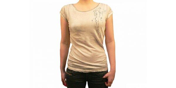 Dámské béžové batikované tričko Diesel