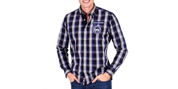 Pánská modrá košile s kostičkami Galvanni