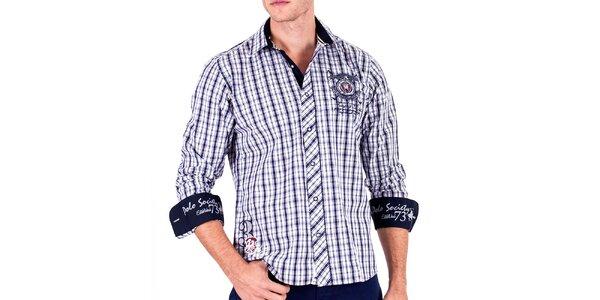 Pánská modrá kostkovaná košile s výšivkami Galvanni