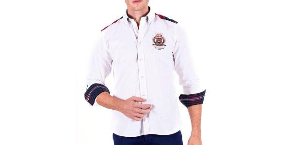 Pánská bílá sportovní košile s loketními nášivkami Galvanni