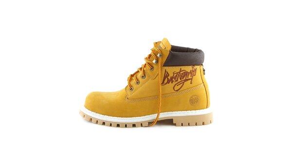 Žluté kotníkové boty s hnědým nápisem Bustagrip