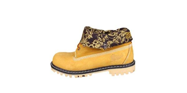 Žluté boty s ohrnutou vzorovanou částí Bustagrip