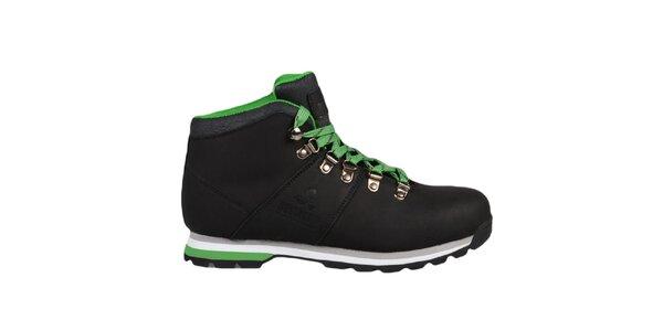 Černé kotníkové boty se zelenými prvky Bustagrip