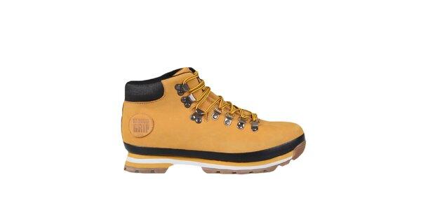 Hořčicové kotníkové boty se žlutými tkaničkami Bustagrip