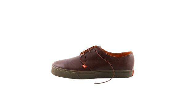 Hnědé kožené boty Bustagrip