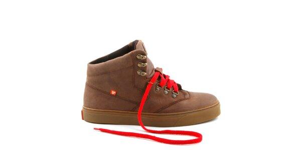 Hnědé kožené boty s červenými tkaničkami Bustagrip
