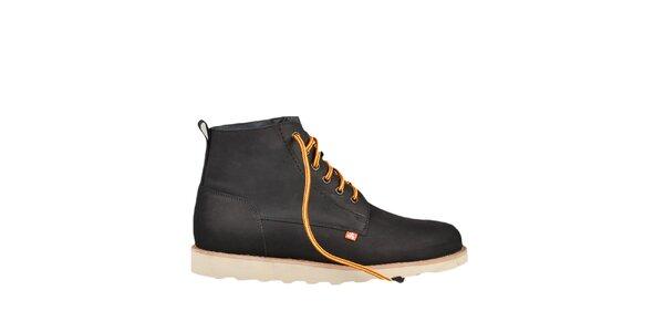 Kožené černé boty s barevnými tkaničkami Bustagrip