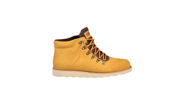 Kožené žluté boty s hnědými prvky Bustagrip