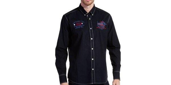 Pánská tmavě modrá košile s výšivkami a bílými švy Galvanni