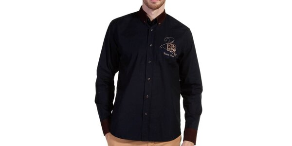 Pánská košile s hnědými detaily Galvanni