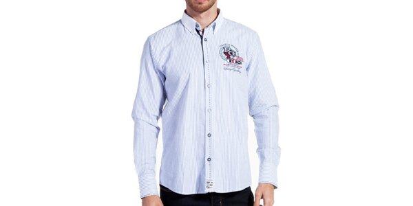 Pánská košile s proužky a výšivkou Galvanni