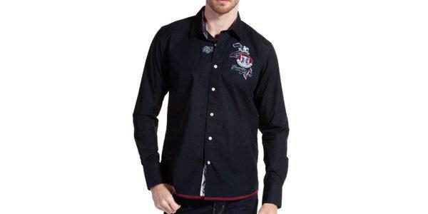 Pánská temně modrá košile s červeným lemem Galvanni