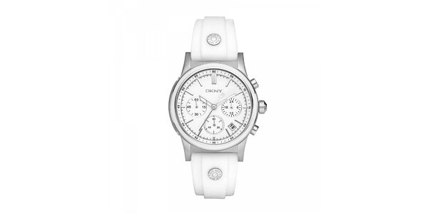 Dámské hodinky DKNY s bílým silikonovým páskem