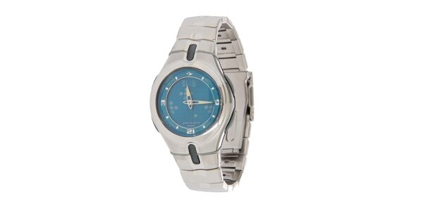Pánské ocelové hodinky Casio s modrým ciferníkem