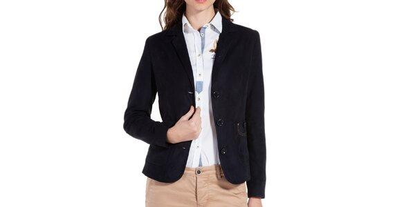 Dámské tmavě modré sako s loketními nášivkami Galvanni