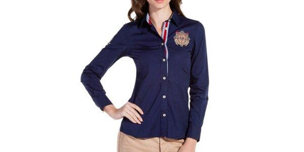 Dámská modrá košile s výšivkou Galvanni