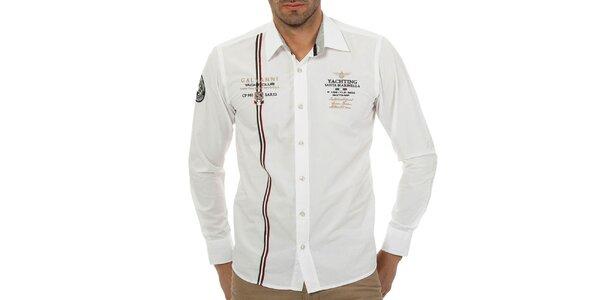 Pánská bílá košile s italským proužkem Galvanni