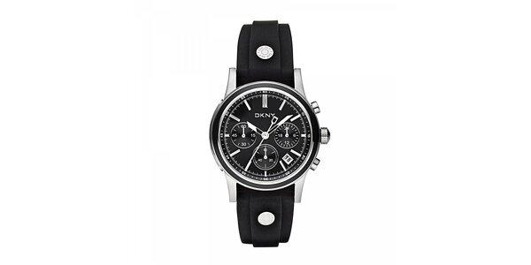 Dámské hodinky DKNY s černým silikonovým páskem