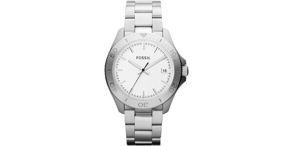 Pánské stříbrné hodinky s bílým ciferníkem Fossil