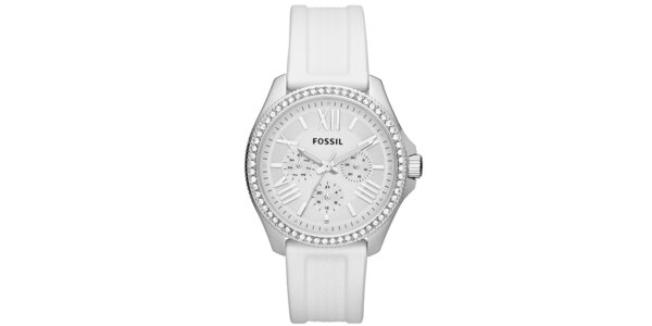 Dámské stříbrné hodinky s bílým ciferníkem Fossil