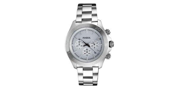 Pánské hodinky s chronografem ve stříbrné barvě Fossil