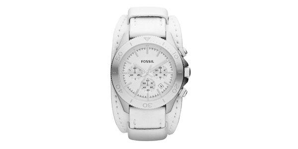 Pánské stříbrné hodinky s širokým bílým řemínkem Fossil