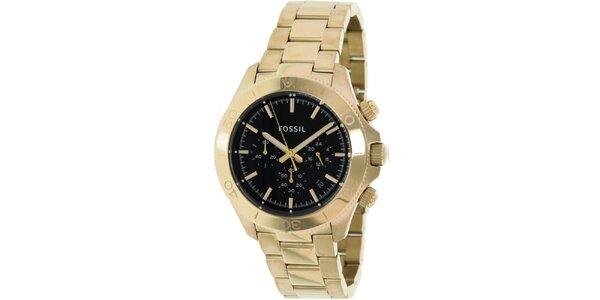 Pánské analogové hodinky s chronografem ve zlaté barvě Fossil