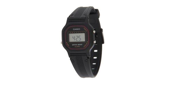 Dámské černé digitální hodinky Casio s vínovým lemem