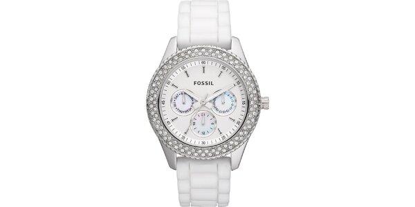 Dámské bílé hodinky se zirkony a chronografem Fossil