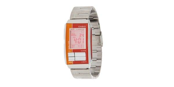Dámské ocelové digitální hodinky Casio s oranžovými detaily