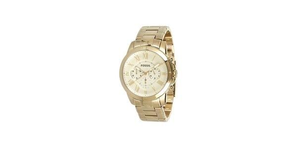Zlaté hodinky s chronografem Fossil