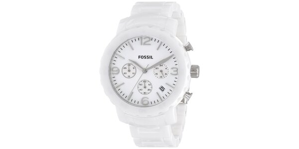 Dámské bílé keramické hodinky Fossil