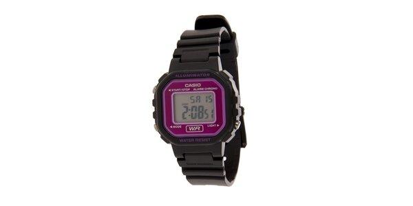 Dámské černé digitální hodinky Casio s růžovými detaily