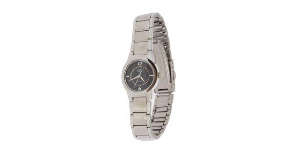 Dámské ocelové hodinky Casio s černým ciferníkem