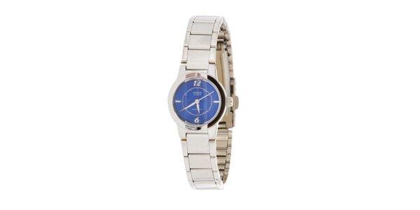 Dámské ocelové hodinky Casio s modrým ciferníkem