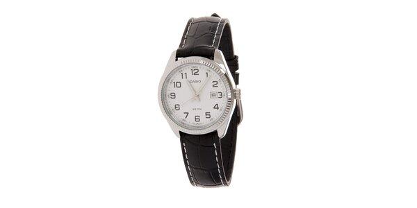 Dámské ocelové hodinky Casio s černým koženým řemínkem