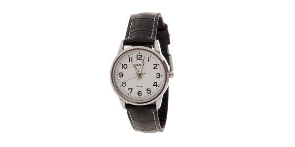 Dámské náramkové hodinky Casio s černým koženým řemínkem