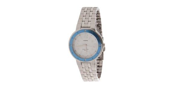 Dámské ocelové hodinky Casio s modrým lemem a hvězdičkami