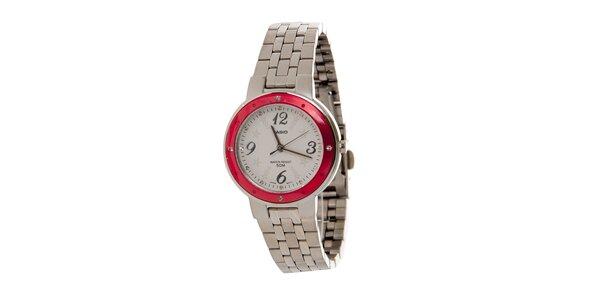 Dámské ocelové hodinky Casio s červeným lemem a hvězdičkami