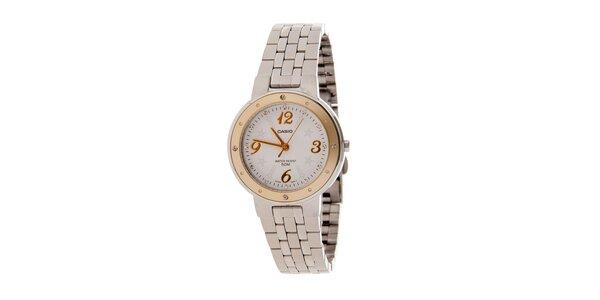 Dámské ocelové hodinky Casio se zlatým lemem a hvězdičkami