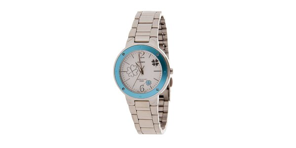 Dámské ocelové hodinky Casio se světle modrým lemem a čtyřlístky