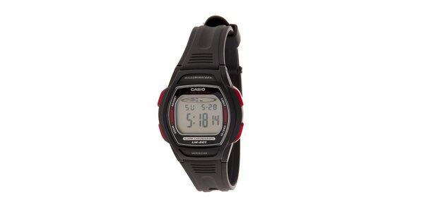 Dámské černé digitální hodinky Casio s černým pryžovým řemínkem