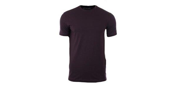 Pánské fialové tričko s černými proužky Pietro Filipi